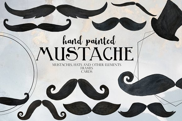 Watercolor Mustaches Clip Art