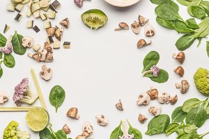 Vegetarian food flat lay
