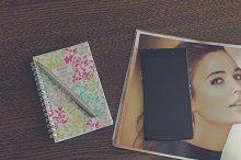 Smartphone, journal and schedule 2