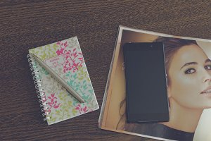 Smartphone, journal and schedule 2