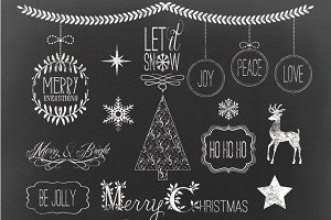 CHRISTMAS CHALK CLIPART