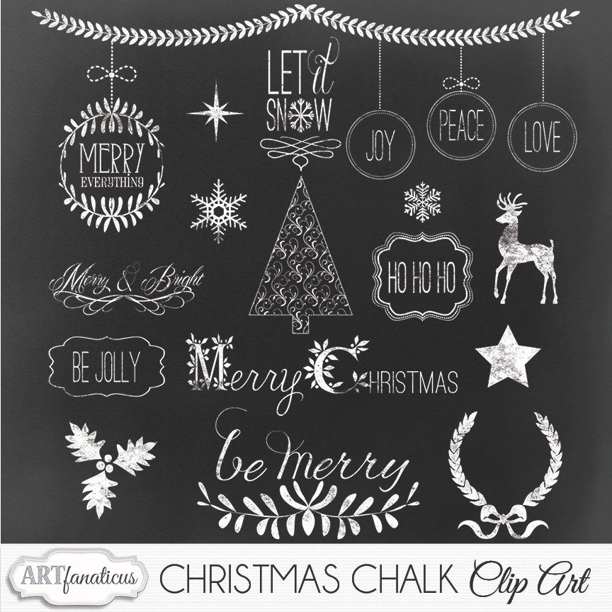 Christmas chalk clipart illustrations creative market