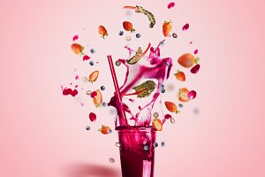 Smoothie with flying berries