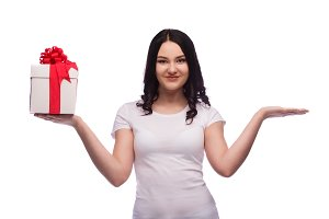 Smiling woman hold red gifts