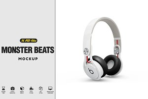 Headphones Monster Beats Mockup