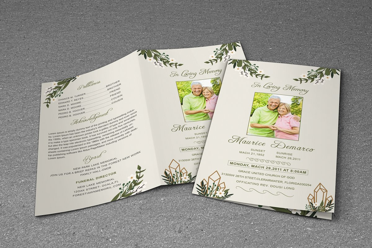 Funeral Program Template in Brochure Templates - product preview 8