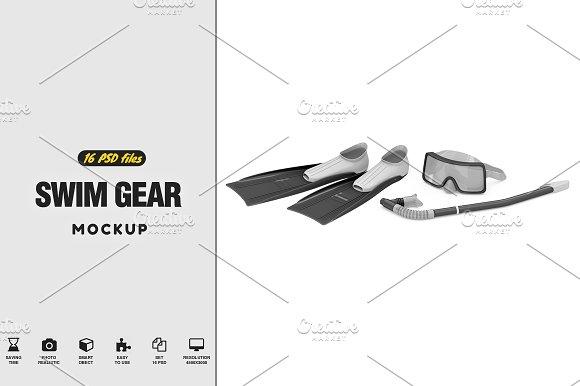 c7130fdaad2 Swim Gear Equipment Mockup ~ Product Mockups ~ Creative Market