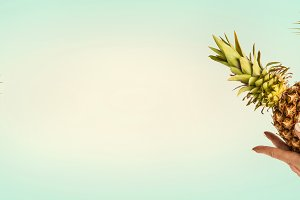 Summer background with pineapple