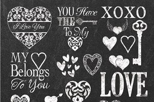 CHALK HEARTS CLIPART