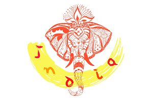Vector hand drawn elephant's head and text. India style illustration.
