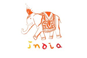 Vector hand drawn elephant. India style illustration with text.