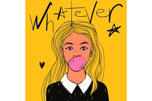 Beautiful girl with bubble gum, long hair and white collar. Vector hand drawn pop art illustration and Whatever text.