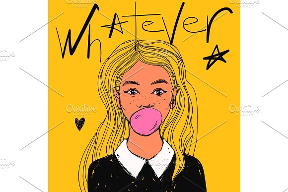 Beautiful Girl With Bubble Gum Long Hair And White Collar Vector Hand Drawn Pop Art Illustration And Whatever Text