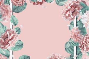 Pastel floral layout frame