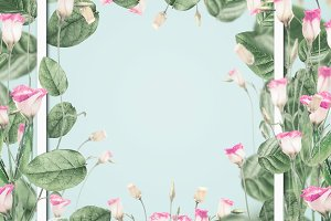 Botanical frame with pink flowers