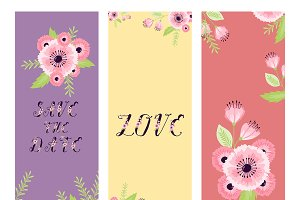 Vector Save the Date Love flowers