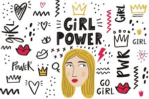 Girl Power illustrations, pattern