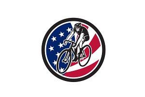 American Cyclist Cycling USA Flag Ic