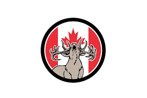 Canadian Stag Deer Canada Flag Icon