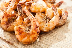 Grilled prawns close up