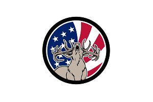 North American Deer USA Flag Icon