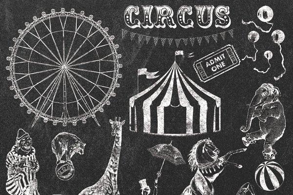 CIRCUS CHALK CLIPART