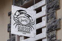 Set of vintage seafood labels