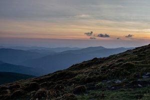 Sunset in the Ukrainian Carpathians.