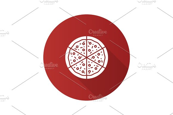 Pizza Flat Design Long Shadow Glyph Icon