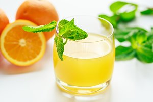 Orange juice and fresh mint