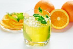 Orange juice and fresh mint