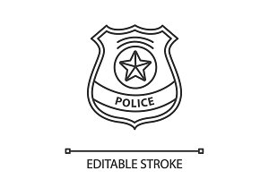 Police detective badge linear icon