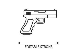 Gun, pistol linear icon