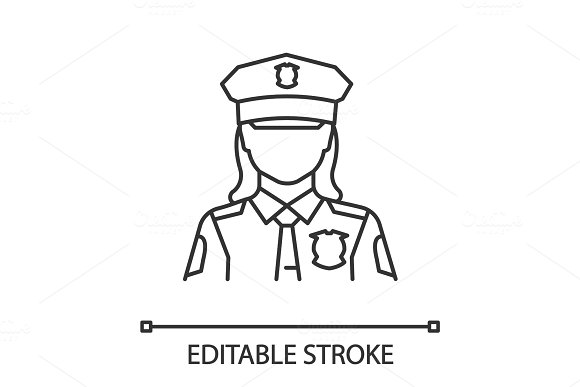Policewoman Linear Icon