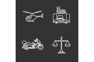 Police chalk icons set