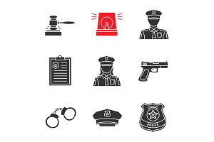 Police glyph icons set