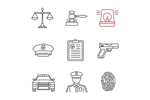 Police linear icons set