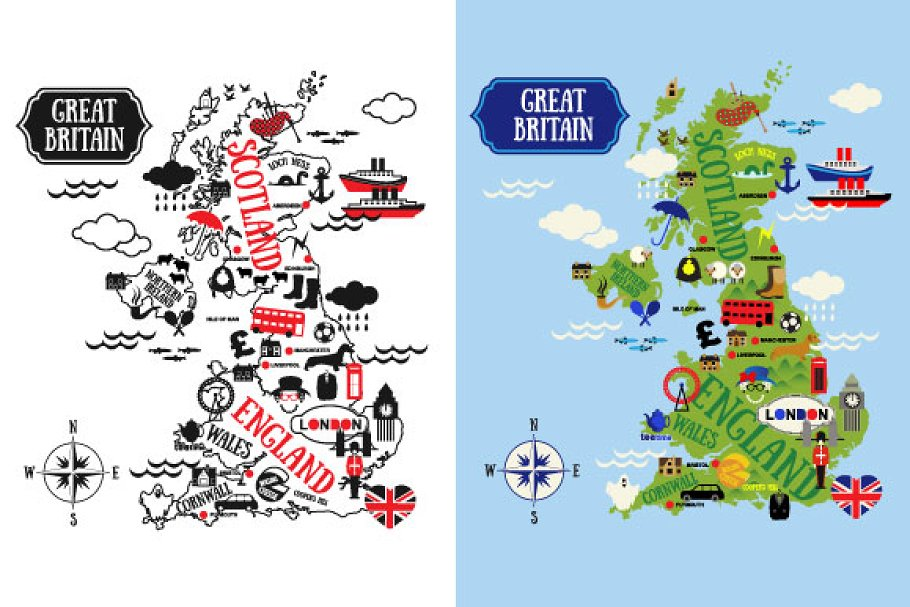 Cartoon Maps of Britain for child | Custom-Designed Illustrations ...
