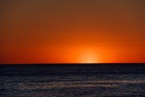 Orange sunset above the sea