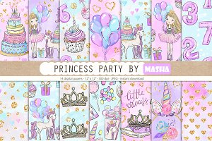 Princess Party digital papers