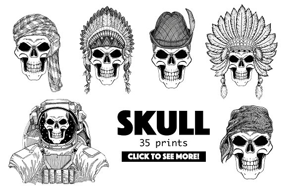 Skull 35 Prints Collection