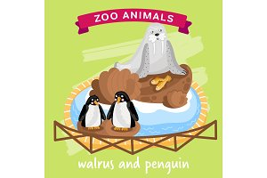 Vector Zoo Animal, Walrus and Penguin