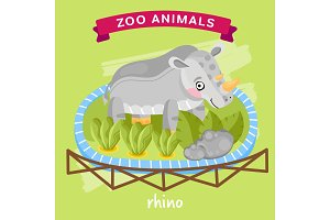 Vector Zoo Animal, Rhino