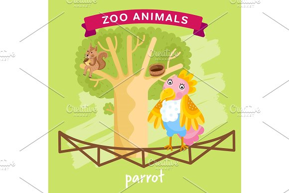 Vector Zoo Animal Parrot