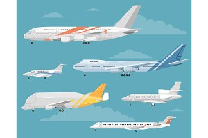 Set of Variety Aircraft Flat Style Illustrations