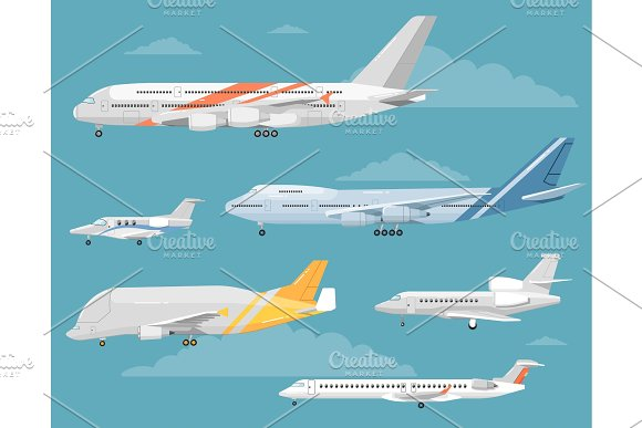Set Of Variety Aircraft Flat Style Illustrations