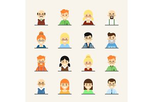 Smiling cartoon people icons set