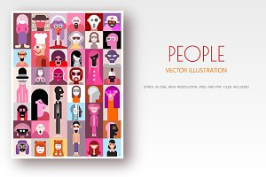 People pop-art vector design