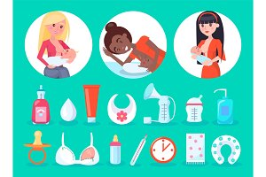 Items and Breastfeeding Moms Vector Illustration