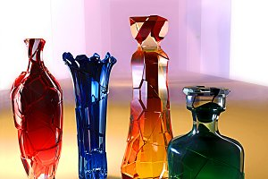 art creative 3d illustration of crystall glass colored vase